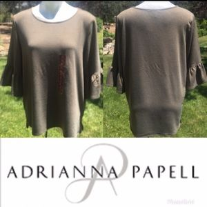 NWT~Adrianna Papell Olive Blouse with Bell Sleeves